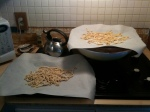 fettucini drying a bit, but ready for the pot