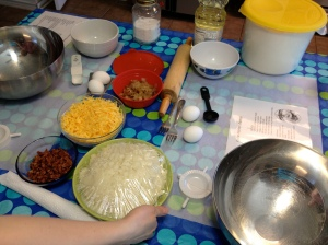 ingredients for filling and dough